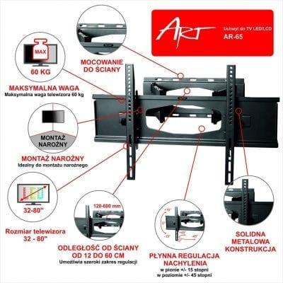 UCHWYT DO TELEWIZORA OBROTOWY 32-80 AR-65