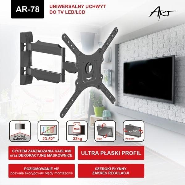 """UCHWYT DO TV LED/LCD 23-52"""" 32KG AR-78 ART reg. pion/poziom"""