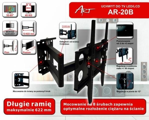 """UCHWYT DO TV LCD/LED ART AR-20B 32-65"""" 45KG reg. pion/poziom"""