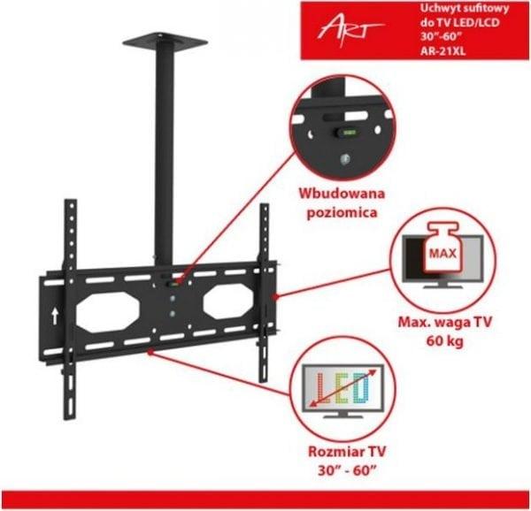 Uchwyt sufitowy ART AR-21XL do LCD/LED do 60kg