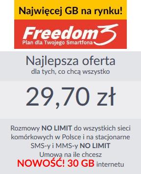 Abonament Freedom 3 w Premium Mobile jest idealną ofertą