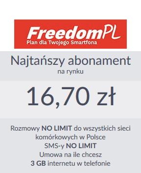 Freedom PL to najtańszy abonament NO LIMIT na rynku